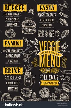 Vegan Food menu for restaurant and cafe. Design template with hand-drawn graphic elements in doodle style. Creative and modern food menu templates for your restaurant business.  More #food #menu for your #restaurant you can download here ➝ http://www.shutterstock.com/g/Marchie?rid=1166783