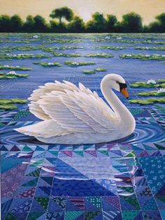 Rebecca Barker's Quiltscapes - She sells cards, prints and originals. I met Rebecca Barker on a quilting cruise. She is so talented. Swan Pictures, Landscape Art Quilts, Bird Quilt, Quilting Room, Animal Quilts, Panel Quilts, Fabric Art, Quilt Making, Quilting Designs