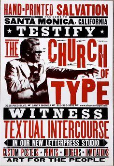 "Testify, Church of Type, Letterpress Print, 16"" x 23.5"""