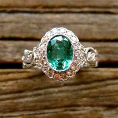 Oval Green Emerald Engagement Ring in 14K White Gold with Flowers and Leafs on Vine Motif and Diamonds Size 6.5