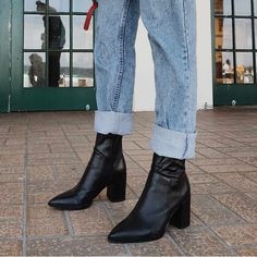 Brazen Black Luxe Ankle Boots - Leather Boots - Ideas of Leather Boots - BRAZEN Black Leather Tony Bianco Pointed Dress Boot Boots For Short Women, Short Boots, Boots Women, Leather Slip On Shoes, Black Leather Boots, Black Ankle Boots Outfit, Black Block Heel Boots, Mode Ootd, Dress With Boots