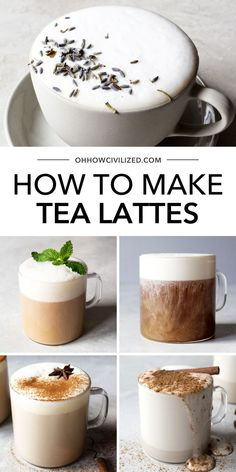 How To Make Tea Lattes Rich and creamy tea lattes are the perfect winter drink. These easy recipes will show you how to whip of these soothing sips at home, in no time. Unwind with a frothy tea latte. Fancy Drinks, Yummy Drinks, Healthy Drinks, Yummy Food, Sweet Alcoholic Drinks, Delicious Recipes, How To Make Tea, Food To Make, Homemade Tea