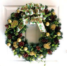Winter Wreath  Christmas Wreath  Gold and by WeddingsAndWreaths