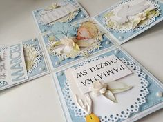 Galeria Papieru: Na chrzest Exploding Boxes, Simple Living, Scrapbooking, Frame, Easy, Cards, Paper, Picture Frame, Maps