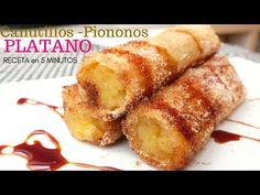 Con PLÁTANOS 🍌🍌 y poco más, prepara esta deliciosa receta en 5 MINUTOS (Canutillos, piononos) - YouTube Bananas, Banana Recipes, French Toast, Snacks, Anna Olson, Breakfast, Ferrero Rocher, Youtube, Cupcakes