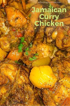 Curry Chicken is a popular staple Indian food with the masala. Jamaican Curry Chicken, unlike its Indian counterpart, has a distinct taste. Jamaican Cuisine, Jamaican Dishes, Jamaican Recipes, Curry Recipes, Curry Chicken Wings Recipe, Chicken Wing Recipes, Chicken Curry, Carribean Food, Caribbean Recipes