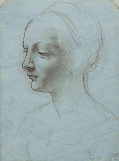 Leonardo da Vinci - The head and shoulders of a woman, almost in profile