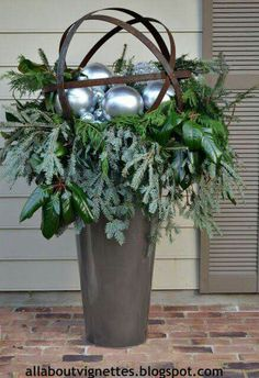 All About Vignettes: Holiday Urns Christmas Urns, Christmas Planters, Outdoor Christmas Decorations, Rustic Christmas, Winter Christmas, Christmas Holidays, Christmas Wreaths, Christmas Crafts, Merry Christmas