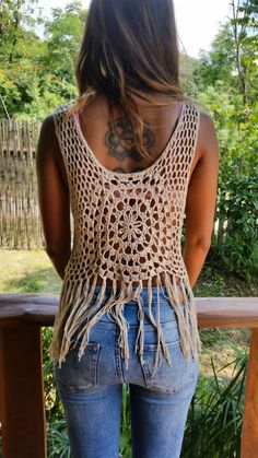 Spellmaya Handmade Crochet Top with Fringe. Decorated with Vintage Jewelry and Real Mirrors. Measurements: Bust 32 stretched up to 46 inches Length 24 inches  Care Hand wash best.