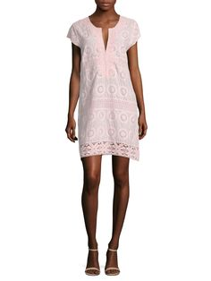 Rondinara Cotton Lace Embroidered Shift Dress on Gilt
