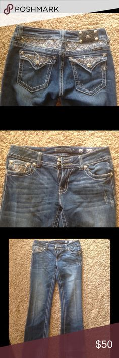 Miss Me Jeans Miss Me jeans women's, missing a couple rhinestones.  With lace background and rhinestones in front.  In good condition.  Dark blue wash Miss Me Jeans Boot Cut