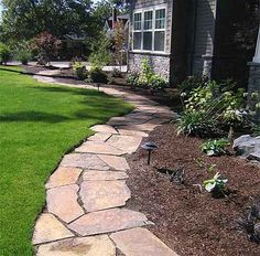 It is time to add some style to the yard. Flagstone Pathway for Flowerbed Edging It is time to add some style to the yard. Flagstone Pathway for Flowerbed Edging Outdoor Landscaping, Front Yard Landscaping, Backyard Patio, Outdoor Gardens, Landscaping Ideas, Walkway Ideas, Rock Walkway, Side Walkway, Patio Ideas