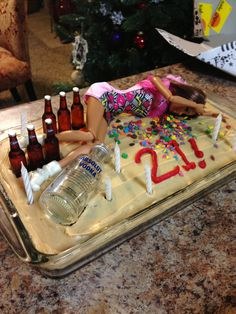 Drunk Passed Out Barbie Doll Wild Party Happy 21st Birthday Cake