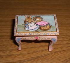 Hunca Munca table for the Beatrix Potter dollhouse nursery, by pandorasartbox on eBay