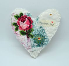 BROOCH Textile heart shaped. Vintage patchwork with by hensteeth
