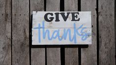 Give Thanks pallet sign; reclaimed wood; pallet art; recycled wood; distressed sign; wood sign; pallet decor; wall art; rustic sign by PurplePaisleyPalace on Etsy