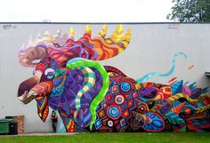 Farid Rueda from mexico painted an amazing mural of a colorful Caribou