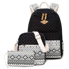 Cheap school bags for teenagers, Buy Quality bags for teenagers directly from China women backpack Suppliers: Printing Canvas Women Backpack Set Parents Bag High Quality Ladies Rucksack Preppy Style School Bag for Teenagers Mochila Set Fashion, Fashion Bags, Fashion Backpack, Trendy Fashion, High Fashion, Fashion Accessories, Bags For Teens, School Bags For Girls, Laptop Shoulder Bag