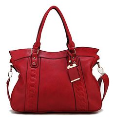 Scarleton Chain Embossed Accent Tote Bag H140610 - Red