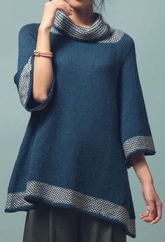 885068116 Knitting Pattern for Kaolin Tunic - This swingy