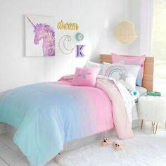 Unicorn Bedroom, One Bedroom, Modern Bedroom, Bedroom Decor, Bedroom Ideas, Mermaid Bedroom, Clean Bedroom, Bedroom Green, Contemporary Bedroom