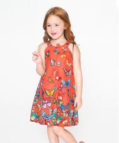 This Orange Butterfly Bow Yoke Dress - Toddler & Girls is perfect! #zulilyfinds