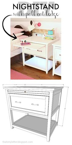 DIY nightstand with pull out shelf and free plans