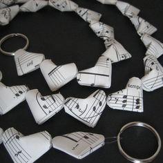 Cute origami music paper hearts.