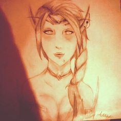Art throwback to year 8, trying to impress my current boyfriend with World of Warcraft sketches. 3 years on and I'm thinking of doing a full watercolour and Promarker combo blood elf for him for part of his Christmas present...yay or nay? #WOW #worldofwarcraft #throwback #artthrowback #oldart #sketch #doodle #boyfriend #Bloodelf #elf