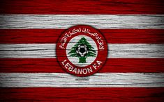 Download wallpapers Lebanon national football team, 4k, logo, AFC, football, wooden texture, soccer, Lebanon, Asia, Asian national football teams, Lebanon Football Federation