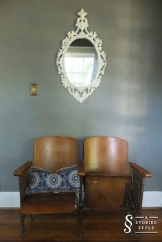immediately to the right of the front door when you walk in are these vintage theater seats and this vintage syroco mirror I painted with high gloss white paint Cinema Chairs, Cinema Seats, House Furniture, Furniture Decor, Foyer Design, House Design, Theater Seats, Interior Ideas, Interior Design