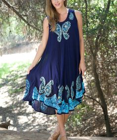 This Navy & Turquoise Embroidered Sleeveless Dress - Women by Ananda's Collection is perfect! #zulilyfinds
