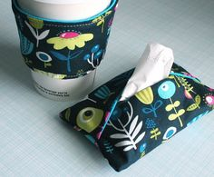 "2 free patterns! Coffee cup insulator / hand warmer and tissue holder / travel tissue pack. These would be darling in a ""get well soon"" gift basket! Make a few all at once. Have them to grab for a quick gift for a friend or neighbor who is sick or in the hospital."