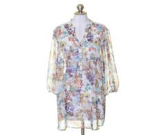 A.N.A. White Multi-Color Floral Sheer Pin-tucked Lace Trim Tunic Blouse Size 1X #ANA #Tunic #Casual