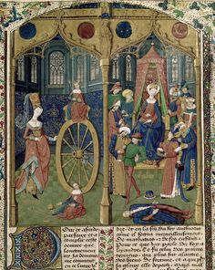 Detail of a miniature of, on the left, Alexander the Great on the Wheel of Fortune, rising to prosperity and falling to ruin, and, on the right, his grandmother Queen Euridyce looking down at her murdered son, Alexander II; from Jean de Courcy, Chronique de la Bouquechardière, France (Normandy, Rouen), 3rd quarter of the 15th century, Harley MS 4376, f. 271r.