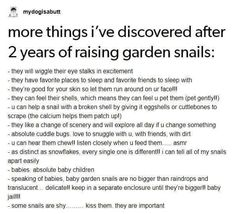I want snails now! But please refrain from kissing your snails and slugs because they can carry some gnarly diseases that can be passed to humans and pets!