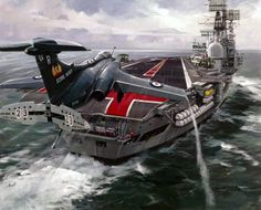 Coming in for a landing on the Ark Hms Ark Royal, Military Jets, Military Aircraft, Fighter Aircraft, Fighter Jets, Blackburn Buccaneer, Royal Navy Aircraft Carriers, F4 Phantom, Aircraft Painting