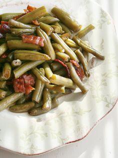 Arkansas Green Beans....beans, bacon, brown sugar, butter, soy sauce and garlic powder.