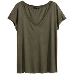 H&M V-neck top ($4.94) ❤ liked on Polyvore featuring tops, t-shirts, shirts, h&m, tees, khaki green, khaki t shirt, v-neck tee, vneck t shirts and green v neck t shirt