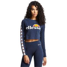 Ellesse Longsleeve Crop T-Shirt (€27) ❤ liked on Polyvore featuring tops, t-shirts, navy, cotton logo t shirts, sexy t shirts, blue crop top, long sleeve t shirt and long sleeve tee