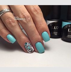 Marina Sokolova Chic Nails, Glam Nails, Love Nails, Trendy Nails, Beauty Nails, My Nails, Nail Art Turquoise, Country Nails, Mandala Nails