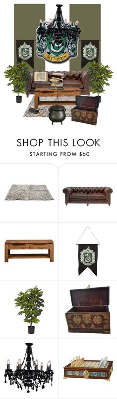 """""""My Slytherin Common Room Inspiration"""" by piscesgal0xy004 ❤ liked on Polyvore featuring interior, interiors, interior design, home, home decor, interior decorating, Andrew Martin, WALL and Nearly Natural"""