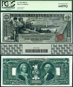 US 1896 $1 Silver Certificate Educational Series FR-225 PCGS Graded CU64PPQ Heritage 10-17-2012 PNUCLR