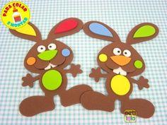 24 coelhos de Eva chocolate - 12cm para colar e montar