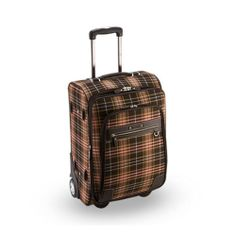 Genuine Pierre Cardin Tartan CHECK Luggage Carry-On Travel Bag / 21 inch Brown