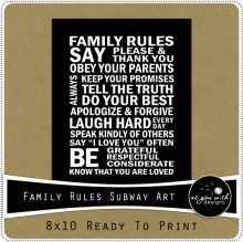 Family Rules Subway Art 8x10 Printable