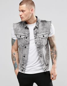 d77056b348c685 Religion Denim Sleeveless Jacket Sleevless Jacket