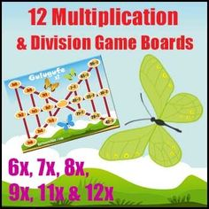 Division Game & Multiplication Game - Gulugufe (Butterfly) is a Division Game and a Multiplication Game that explores the inverse relationship between the two. This version covers 6x, 7x, 8x, 9x, 11x & 12x Tables. The game combines strategic thinking and basic facts. Multiplication Games, Multiplication And Division, Math Games, Teaching Math, Teaching Ideas, Division Games, Math Education, 5th Grade Math, Math Numbers