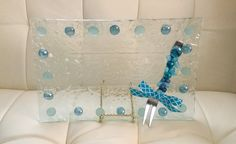Blue Beaded Icy Glass Serving Platter w/ Coordinating Jeweled Serving Fork. Coastal Decor. Beach Decor. Coastal Entertaining. Hostess Gift by AngelBellaCreations on Etsy