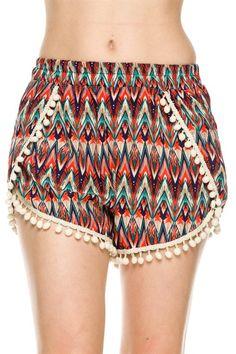 Trendy Solid & Mix Print Shorts W/ Pom Pom Trim
